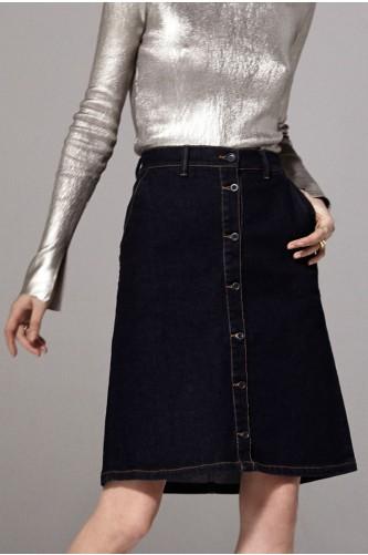 Argon Denim Midi Skirt