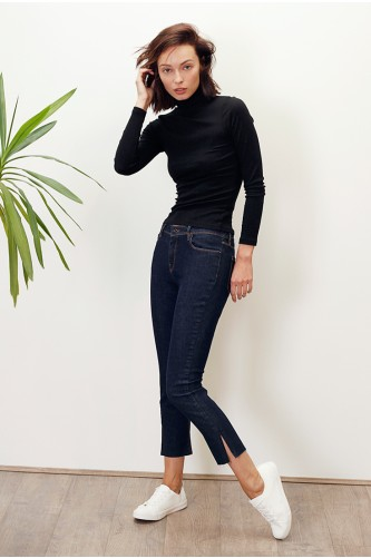 Diamond Indigo Straight Cropped Jean