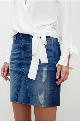Ruthenium Distressed Skirt