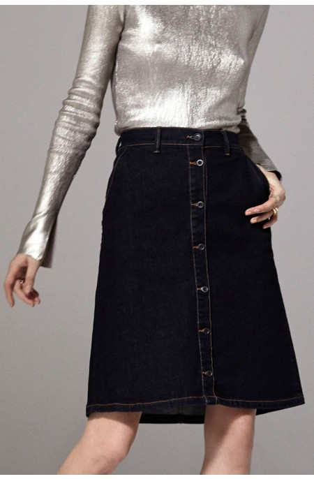 Argon Denim Midi Skirt